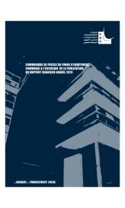 COMMUNIQUE DE PRESSE DU FONDS D'EQUIPEMENT COMMUNAL A L'OCCASION DE LA PUBLICATION DU RAPPORT FINANCIER ANNUEL 2019