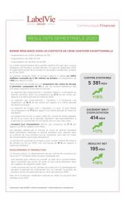 Label'Vie : Communiqué Financier Résultat Semestriel 2020