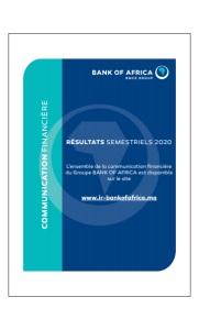 BANK OF AFRICA BMCE GROUP : Communication Financière Résultats Semestriels 2020