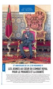 57E ANNIVERSAIRE DE S.M. LE ROI MOHAMMED VI : Les Jeunes Au Coeur Du Combat Royal Pour Le Progrès Et La Dignité